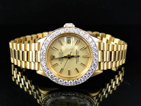 Pre-Owned Ladies 26MM Rolex President Datejust 18k Yellow ...