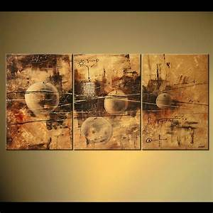 Abstract painting - triptych abstract painting of circles ...
