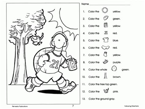 directions worksheets  grade