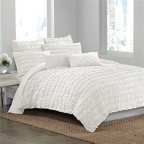 ruffle duvet cover dkny ruffle wave duvet cover in white bed bath beyond