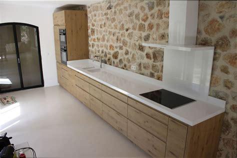 plan de cuisine bois cuisine bois plan de travail blanc