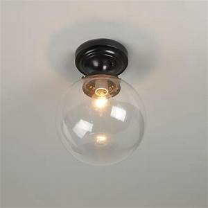 Glass globe ceiling light clear or white
