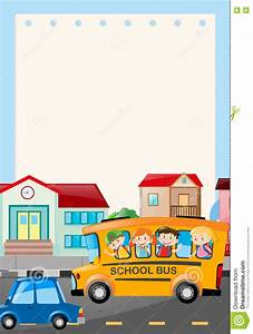 Border Template With Kids On The Bus Stock Illustration ...