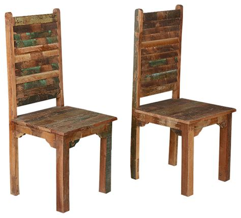 rustic reclaimed wood multicolor dining chairs set of 2