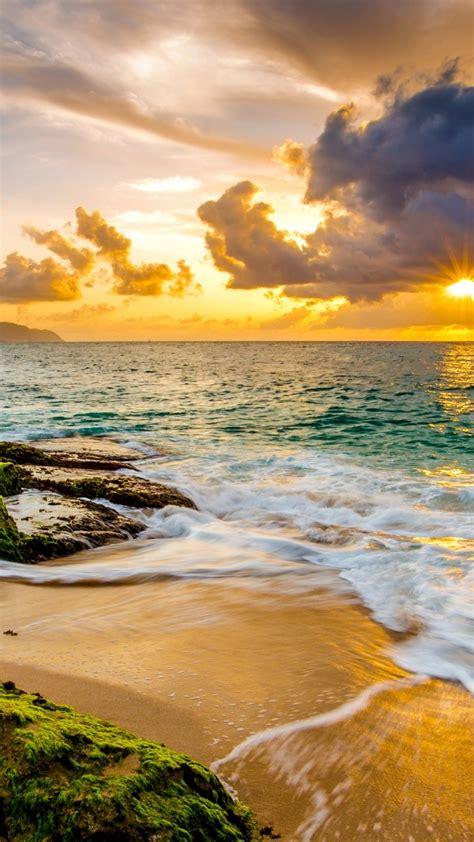 wallpaper hawaii sunset beach ocean coast sky