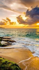 Wallpaper, Hawaii, Sunset, Beach, Ocean, Coast, Sky, 4k