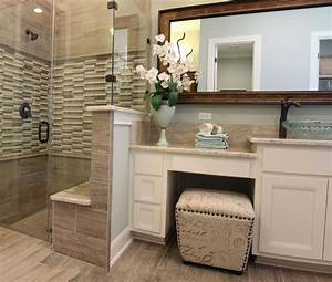 Master Bath With White Cabinets And Vanity Seat Intended