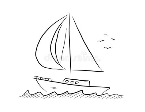 Sailboat Doodle stock vector. Illustration of decoration ...