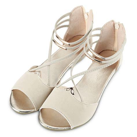 ladies women flat  wedge heel zipper sandals ankle