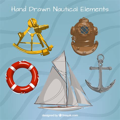 Sailing Boat Elements by Hand Drawn Sailing Elements Vector Free Download
