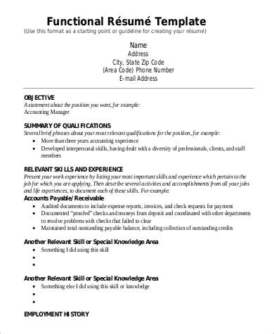 Format Of Functional Resume by 9 Functional Resume Exles Templates