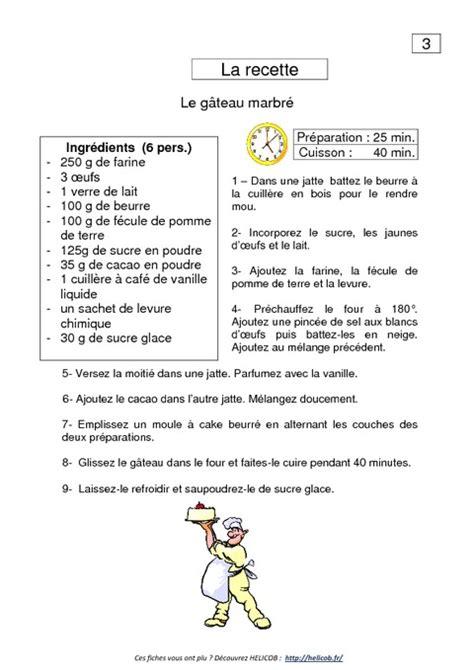 recette de cuisine ce1 la recette lecture de documents ce1 français cycle