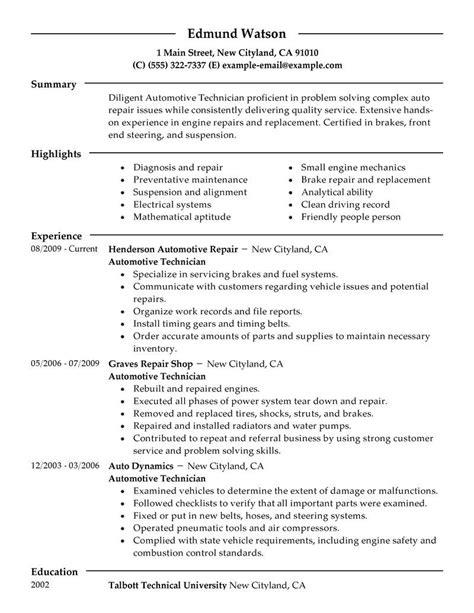 Entry Level Mechanic Resume by Resume Objective Exles Mechanic Entry Level Mechanic