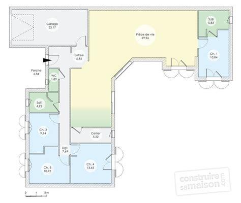 plan de maison 2 chambres plan maison contemporaine plain pied 4 chambres maison