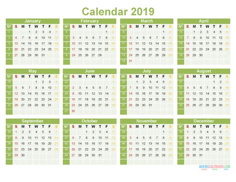 printable yearly calendar   month   page word