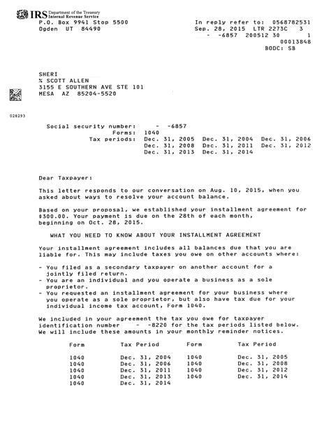 completed irs payment plan  gilbert az tax debt