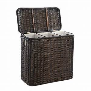 3-Compartment Wicker Laundry Hamper - The Basket Lady