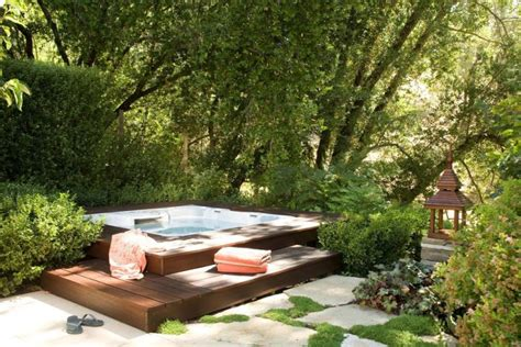 outdoor spa ideas 65 awesome garden hot tub designs digsdigs