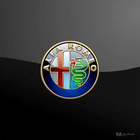 Shower Assembly by Alfa Romeo 3d Badge On Black By Serge Averbukh