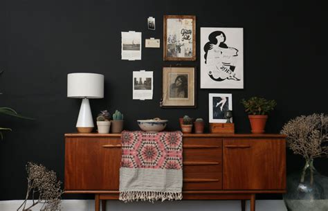 living room black walls interior styling dark walls lobster and swan
