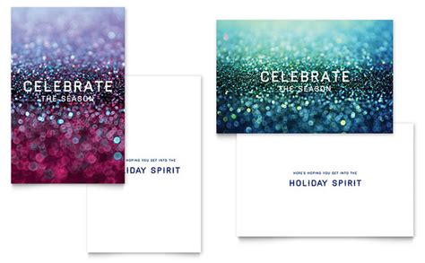 glittering celebration greeting card template word