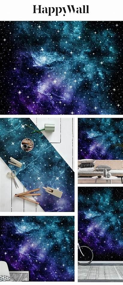 Teal Galaxy Purple Nebula Mural Space Happywall
