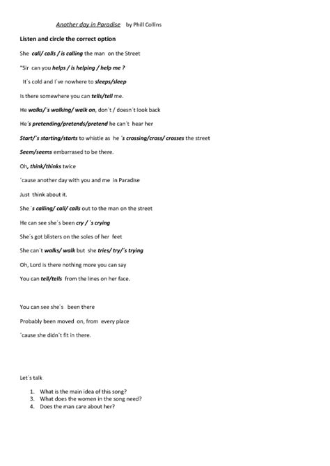 Testo Paradise Song Worksheet Another Day In Paradise By Phil Collins