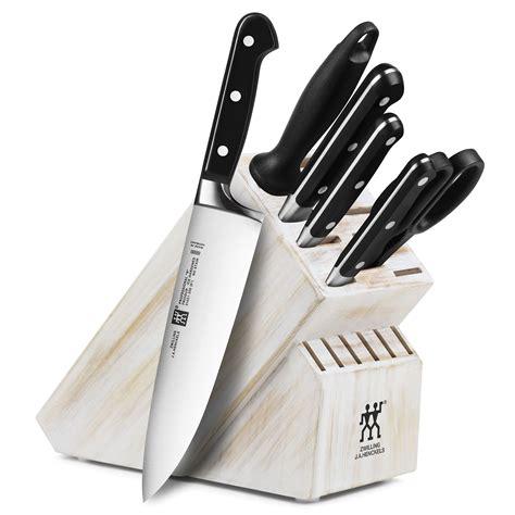 zwilling ja henckels professional  knife block set  piece white wash cutlery