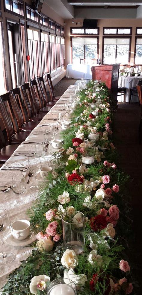 head table garland loose stems  pink  burgundy