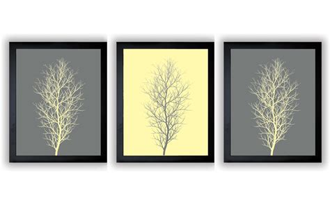Yellow And Gray Wall Decor by Grey Gray Yellow Tree Wall Decor Tree Print Set Of 3 Trees
