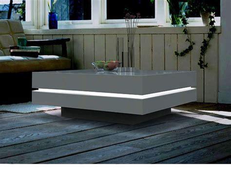 bureau junior table basse carrée avec leds mdf laqué blanc
