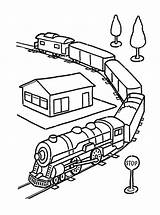 Coloring Trains Train Printable Station Colors Railroad sketch template