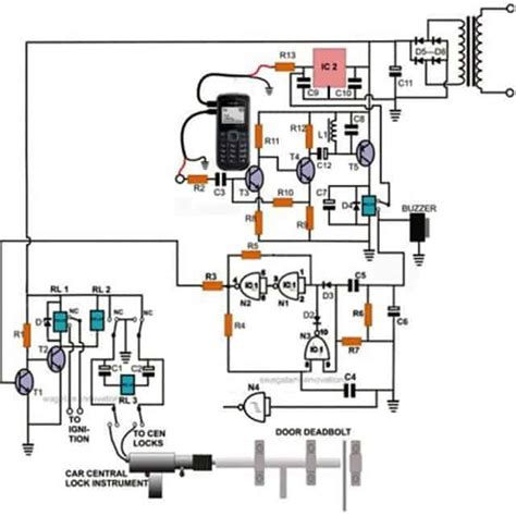 Cell Phone Controlled Door Lock Circuit