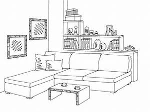 Living Room Interior Graphic Black White Sketch ...