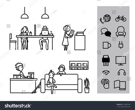 Coworking Space Office Meeting Outline Stroke Stock Vector