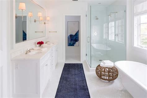white  blue contemporary bathroom  dark blue