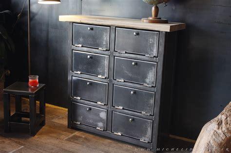 bureau avec etageres meuble 8 clapets métal style industriel sur mesure
