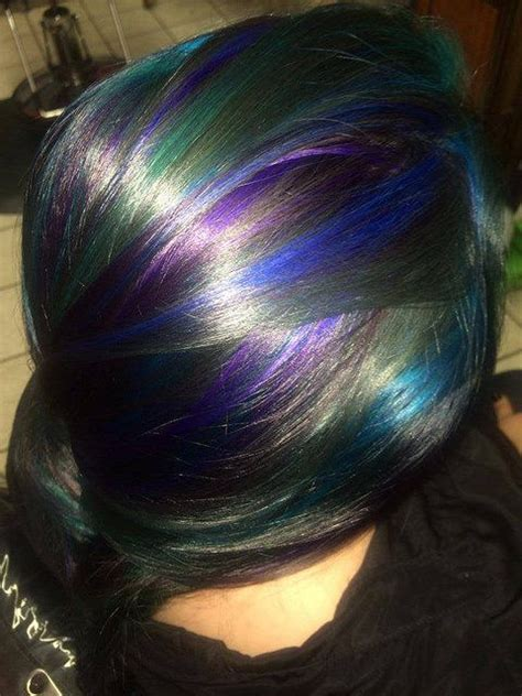 Abbys Blue Teal Purple And Green Highlights Hair