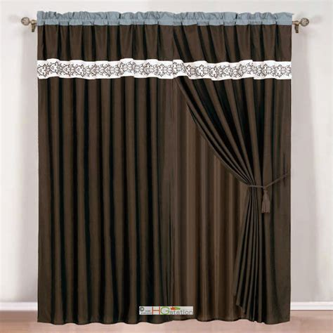 4 pc scroll floral embroidery curtain set brown beige teal