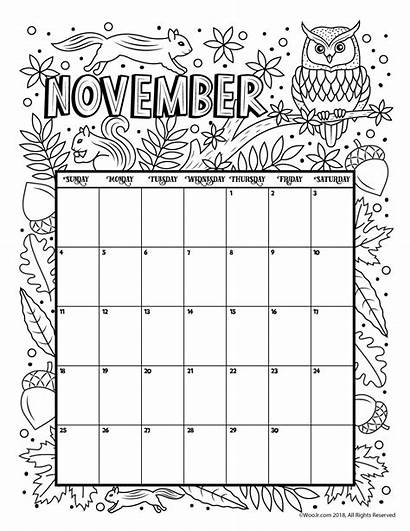 Calendar Coloring Nov Printable November Pages Calender