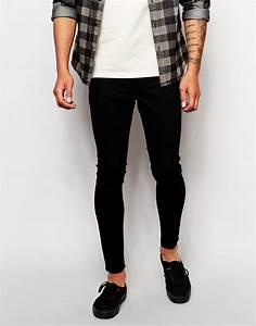 Cheap monday Jeans Low Spray Super Skinny Black in Black for Men | Lyst