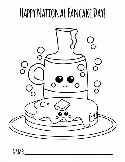 Pancake Coloring National Colouring Pages Pancakes Crafts
