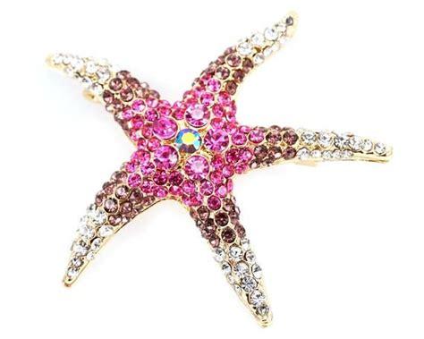 Sparkling Gold Starfish Brooch Large Pink Sea Star Brooch