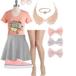 pink stud earrings pusheen polyvore