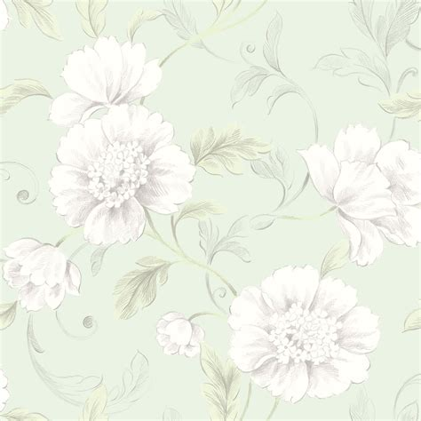 rasch boutique floral wallpaper flowers metallic green
