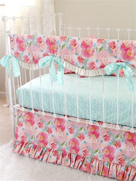 floral crib bedding pastel peonies floral bumperless crib bedding lottie da baby
