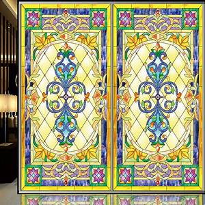 Continental retro stained glass window film stickers