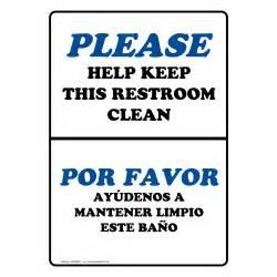 please help keep this restroom clean bilingual sign nhb