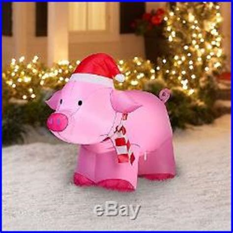 pink christmas pig outdoor decoration outdoor decoration airblown pig pink 3 yard decor new