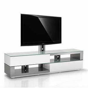 Meuble Avec Support Tv : meuble tv design blanc inox bross 200cm razza 200h swi ~ Dailycaller-alerts.com Idées de Décoration